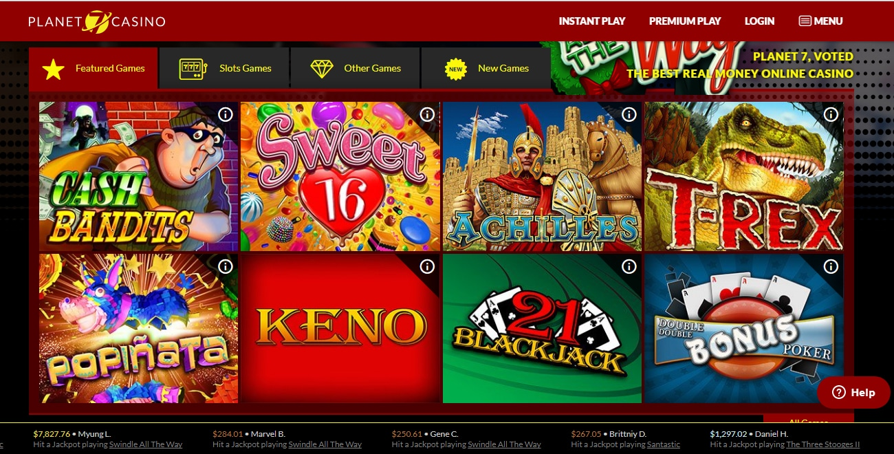 Planet 7 Online Casino design