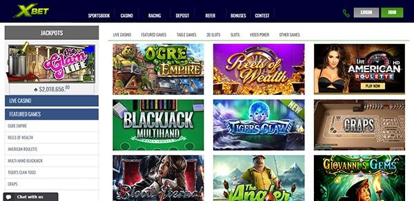 XBet Online Casino Layout