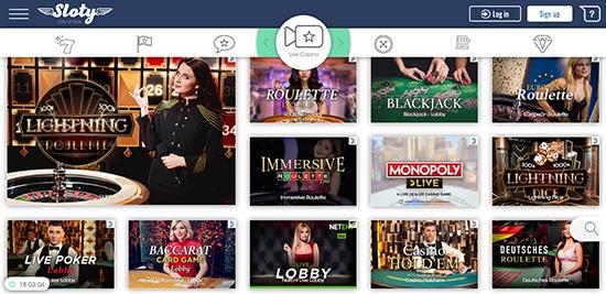 Sloty Casino Live Dealer Games