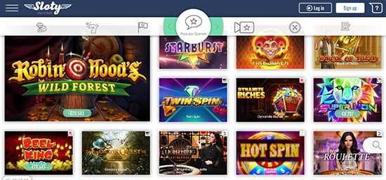 Sloty Casino Popular Games