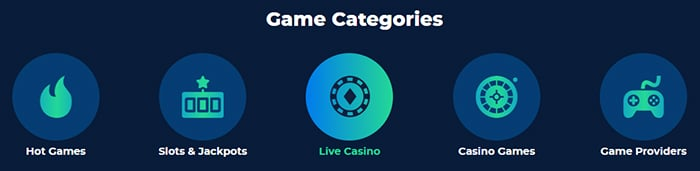 Casino Planet Game Categories