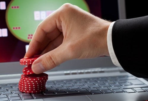 Casino Chips on Laptop Computer